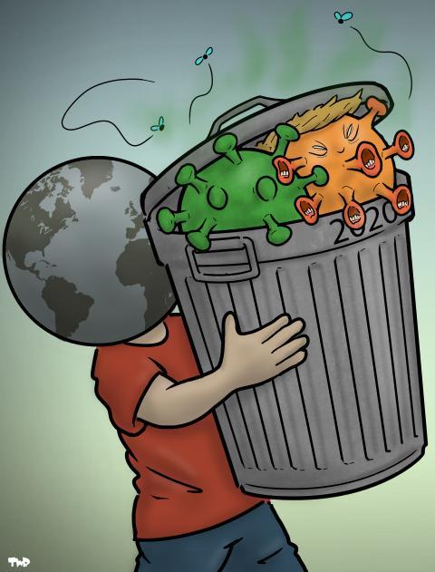Cartoon about Trump and corona