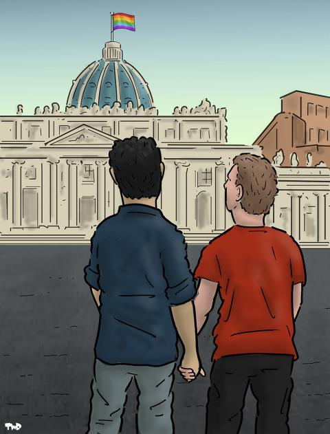 Cartoon about the church and gay rights