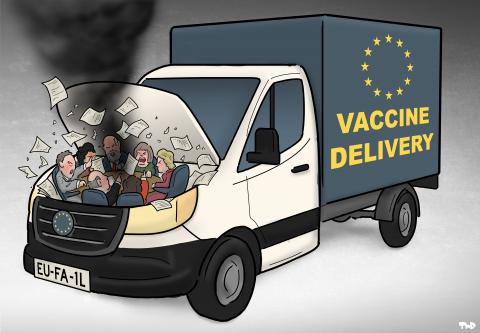 Cartoon about European vaccine distribution