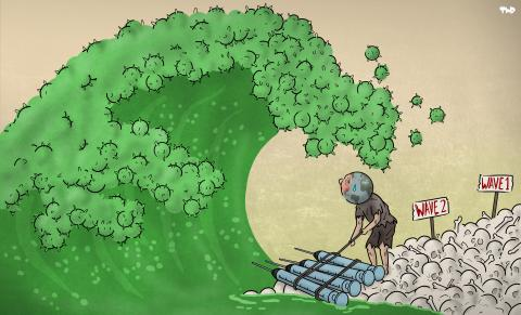 Cartoon about the third wave of corona