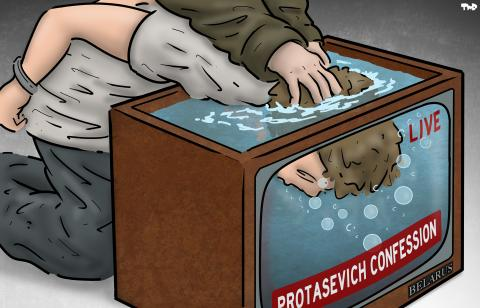 Cartoon about Protasevich
