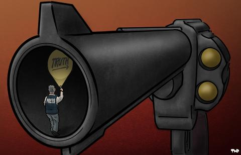 Cartoon about the dangers of being a journalist