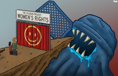 cartoon about women's rights under the Taliban