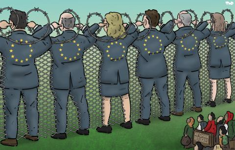 Cartoon about Europe and refugees from Afghanistan
