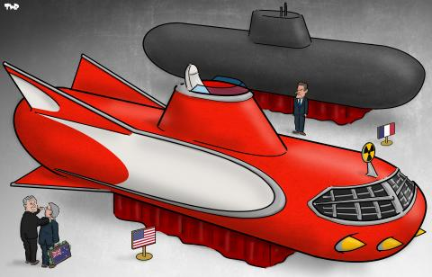 Cartoon about the submarine deal between France and Australia