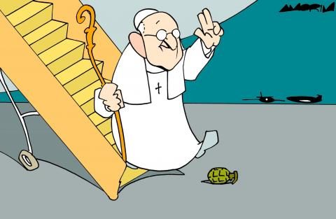 Cartoon about the pope in Iraq