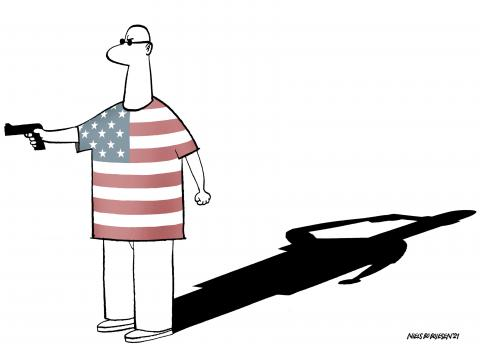 Cartoon about gun violence in the US