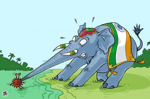 Cartoon about corona in India