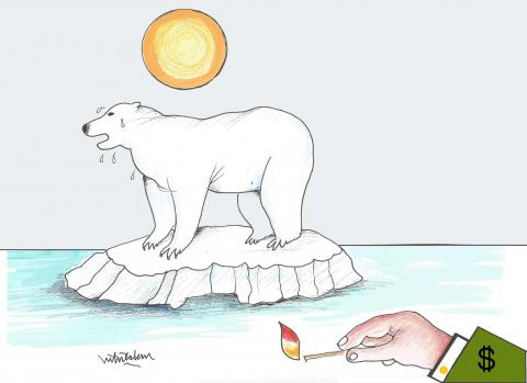 Glaciers are melting, global warming, our world is in danger
