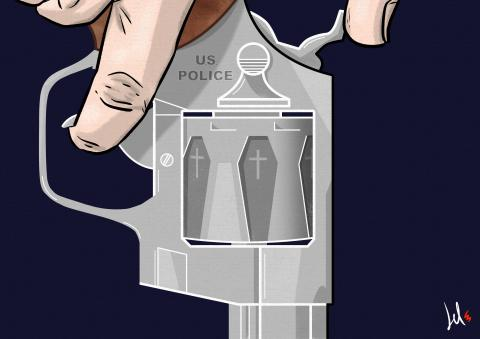 cartoon by emanuele del rosso about police racism and guns