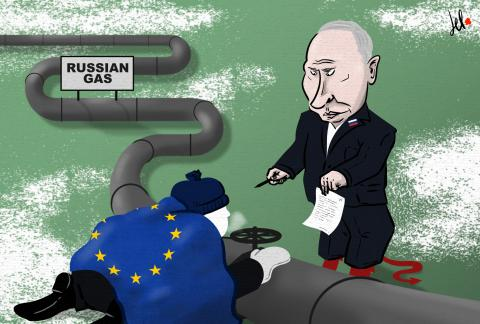 cartoon by emanuele del rosso about putin and the gas shortage