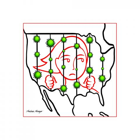 Map of the USA, woman trapped behind bars with Covid/Coronavirus.