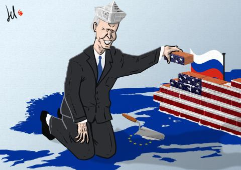 cartoon by emanuele del rosso about biden and russia