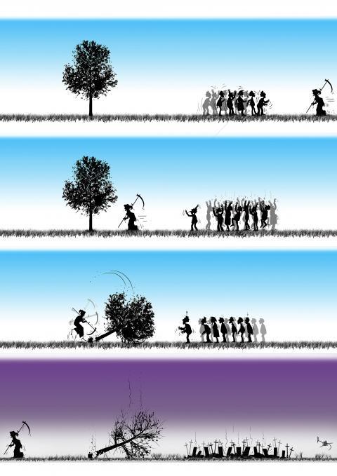 Cartoon about death