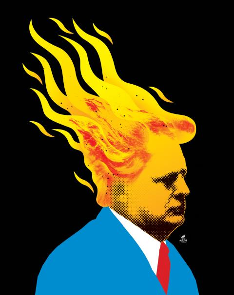 Donald Trump going up in flames.