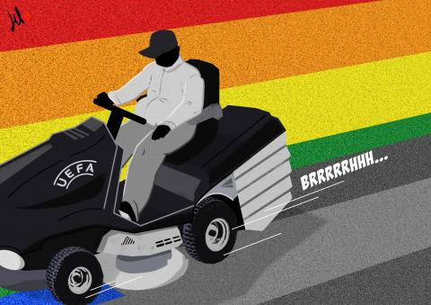 cartoon by emanuele del rosso about uefa and lgbtq