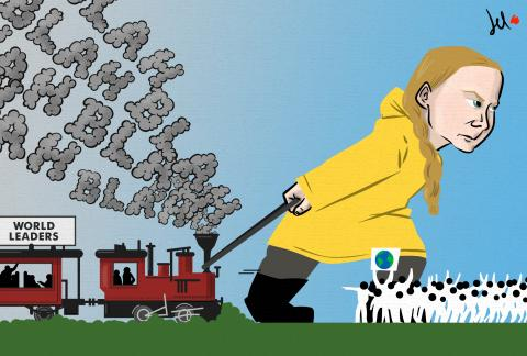 cartoon by emanuele del rosso about climate change and government inaction