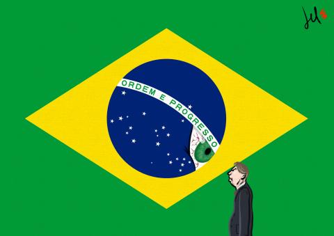 cartoon by emanuele del rosso about Brazil and Bolsonaro