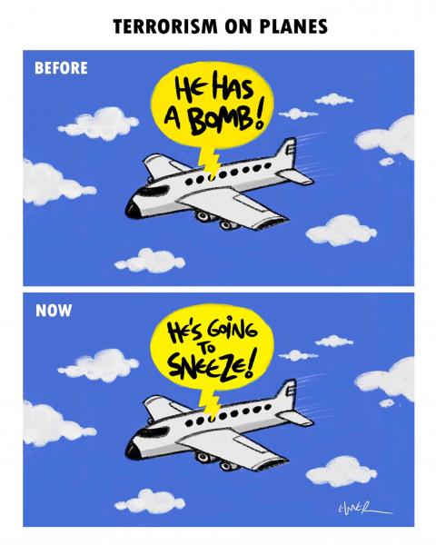 Cartoon about covid and planes