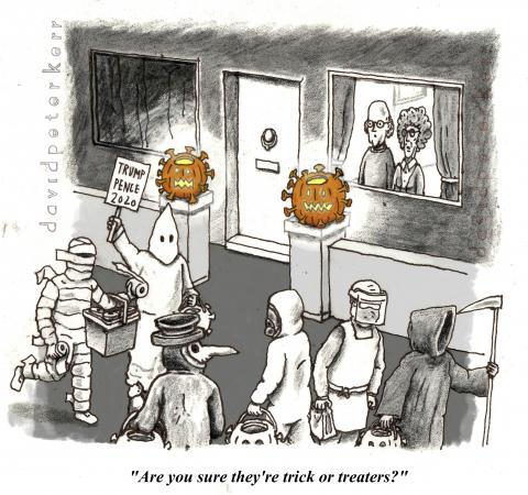 A cartoon for the Halloween / spooky US Election season.