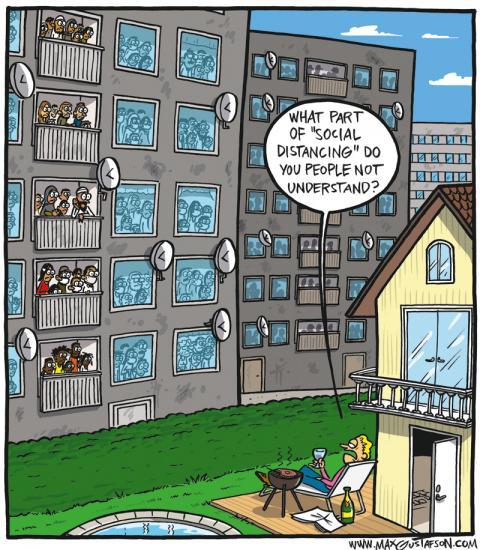 Cartoon about social distancing