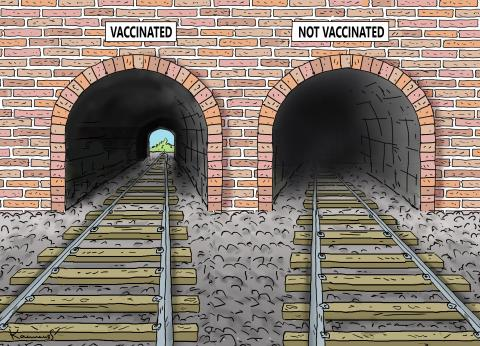 Cartoon about the vaccinated and the unvaccinated