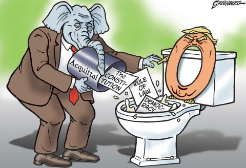 Republicans flush democracy down a Trump toilet.