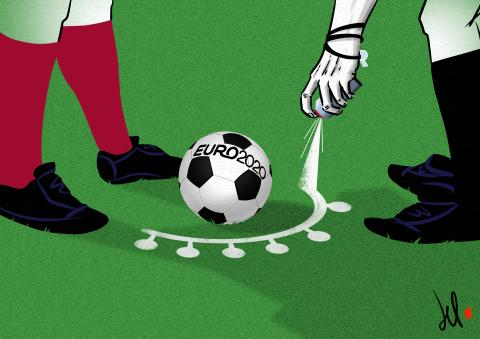 cartoon by emanuele del rosso about euro 2020