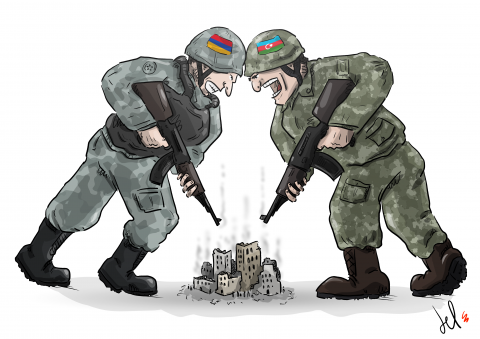 cartoon by emanuele del rosso about the the nagorno-karabakh situation
