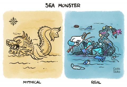 Cartoon about pollution of the oceans