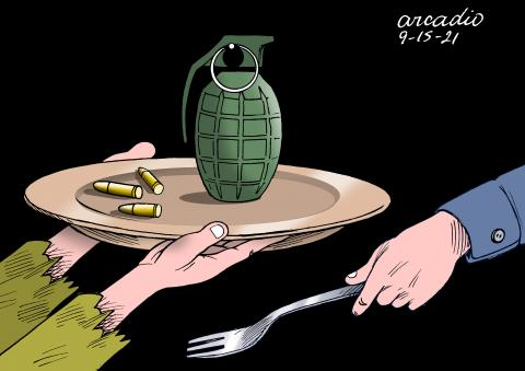 Conflicts in many countries, to many weapons and no food.