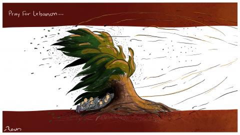 Cartoon about the explosion in Beirut
