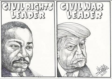 Cartoon about Donald Trump and Martin Luther King