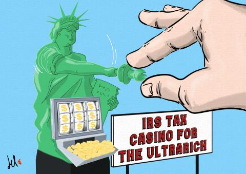 cartoon about taxes for ultrarich and IRS