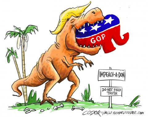 The Trump killer dinosaur swallows nearly all the Republican party.