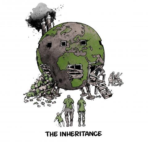 Cartoon about our planet and pollution