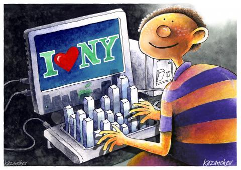 Computer, keyboard, New York