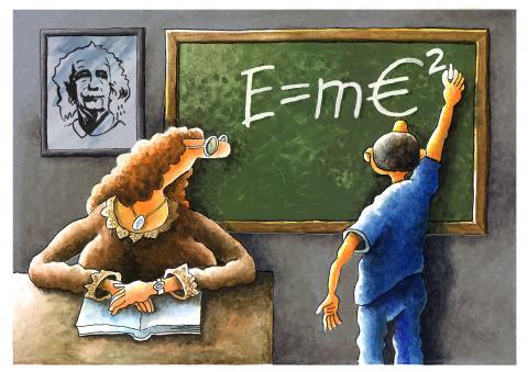 School, euro, Albert Einstein, student