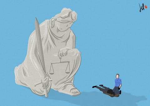 cartoon by emanuele del rosso about police murders and chauvin