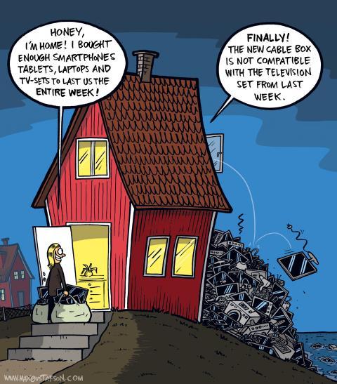 Cartoon on mindless consumption