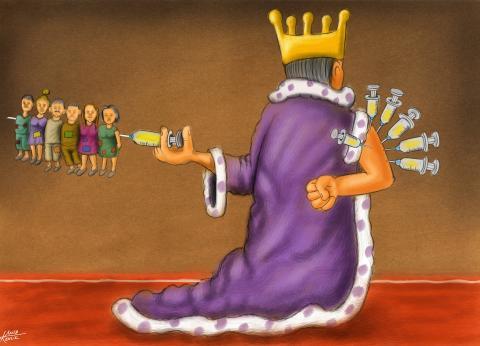 Cartoon about the coronavirus vaccine