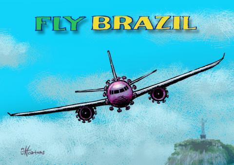A corona airplane flying past the Cristo Redentor statue in Rio de Janeiro