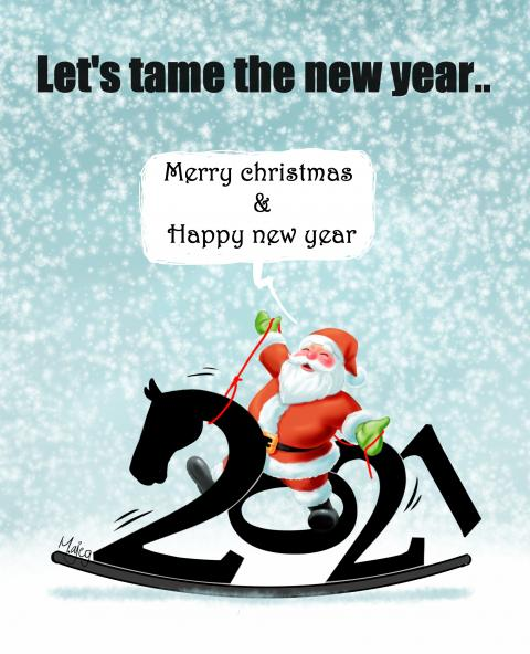 Santa Claus trying to tame a wooden horse in the form of numbers 2021.