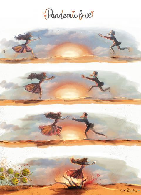 Cartoon about corona and love