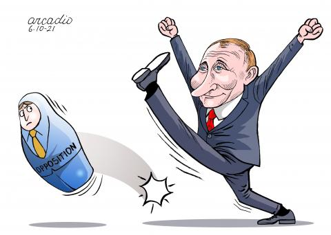 Opposition outlawed in Russia.