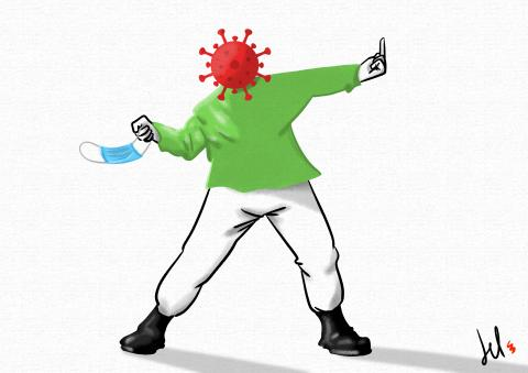 cartoon by emanuele del rosso about coronavirus riots
