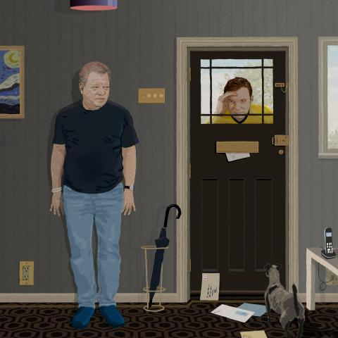 William Shatner hiding from Captain Kirk