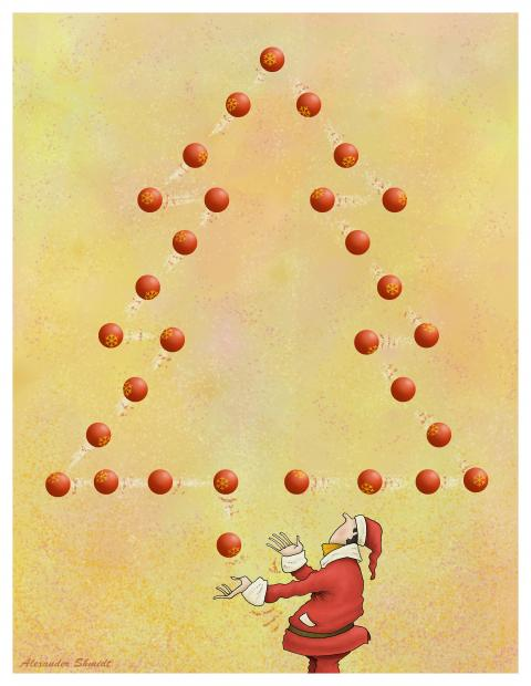 A juggler dressed as Santa Claus is throwing Christmas balls. These balls form a Christmas tree.
