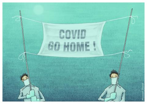"""A banner in the form of a medical mask. It has the inscription """"COVID GO HOME!"""""""