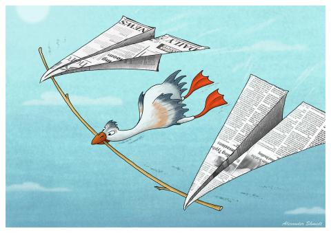 Paper airplanes are carried on a twig a duck ... In the same way as ducks carried a frog on a twig.